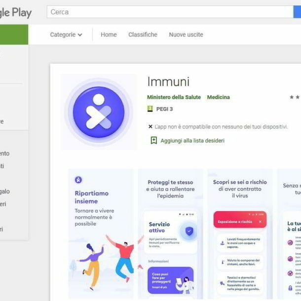 pagina corretta su playstore per app immuni