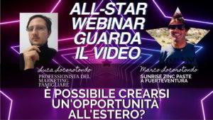 Marco Locorotondo: è possibile crearsi un'opportunità all'estero? – All-Star Webinar